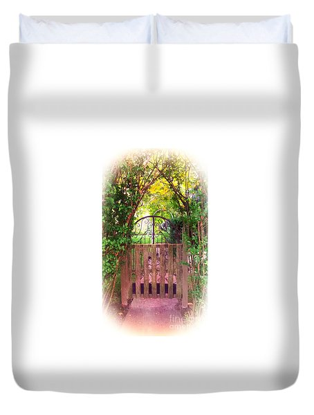 Duvet Cover featuring the photograph The Secret Gardens Gate by Becky Lupe