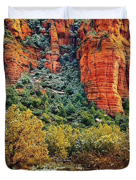 Duvet Cover featuring the photograph The Secret Mountain Wilderness In Sedona Back Country by Bob and Nadine Johnston