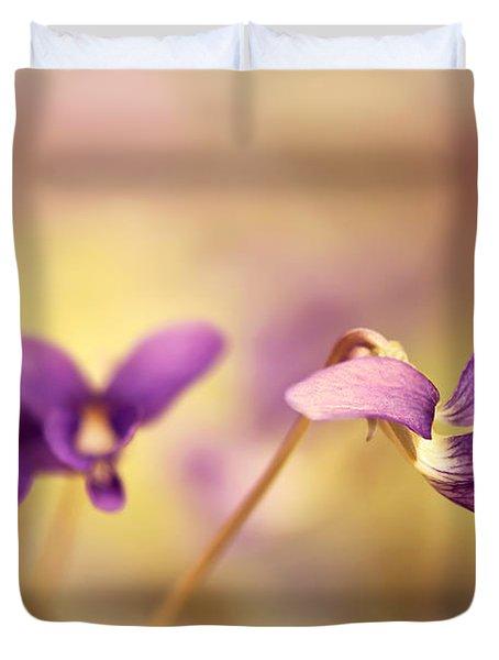 The Secret World Of Wild Violets Duvet Cover by Lois Bryan