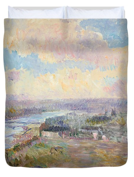 The Seine At Rouen Duvet Cover by Albert Charles Lebourg