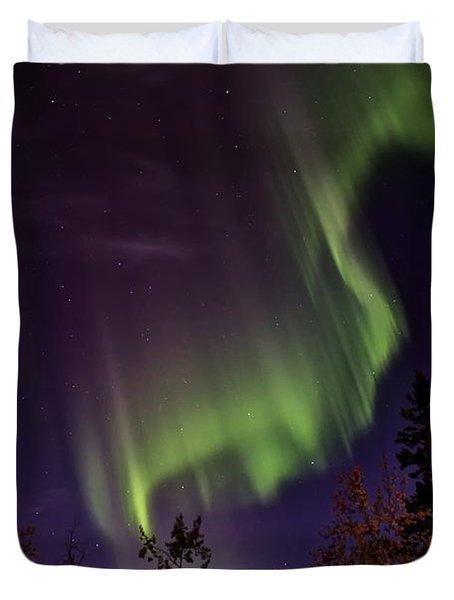 The September Aurora Fairbanks Alaska Duvet Cover by Michael Rogers