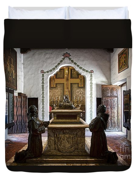 The Serra Cenotaph In Carmel Mission Duvet Cover