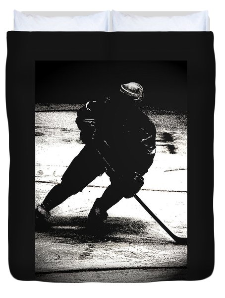 The Shadows Of Hockey Duvet Cover by Karol Livote