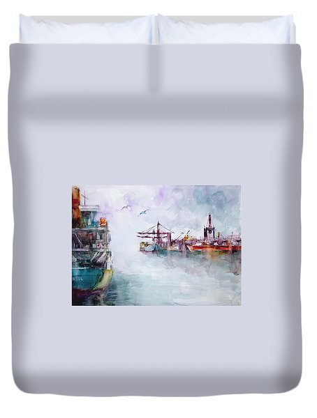 Duvet Cover featuring the painting The Ship At Harbor Entrance by Faruk Koksal