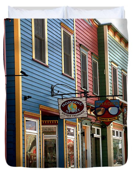 Duvet Cover featuring the photograph The Shops In Crested Butte by RC DeWinter