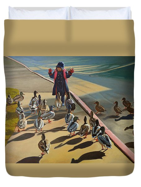 Duvet Cover featuring the painting The Sidewalk Religion by Thu Nguyen