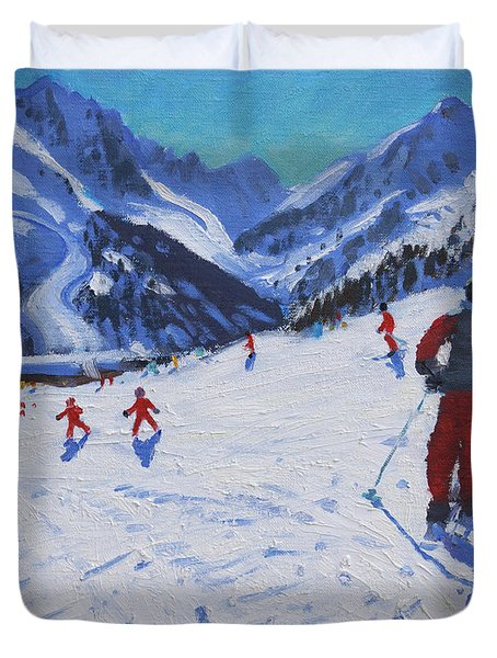 The Ski Instructor Duvet Cover by Andrew Macara