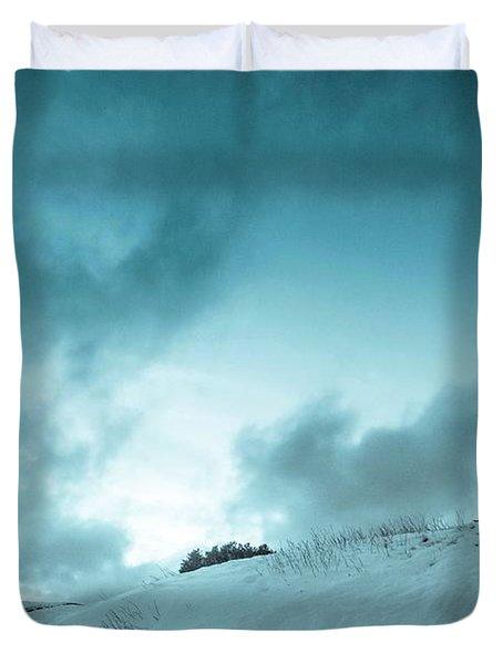 The Sledding Hill Duvet Cover by Mary Amerman