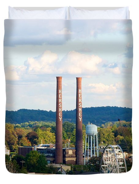 The Smoke Stacks Stand Resolute  Duvet Cover by Mark Dodd