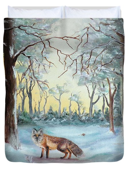 The Sneaky Red Fox Duvet Cover