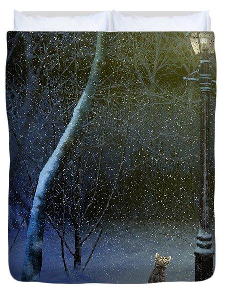 The Snow Cat Duvet Cover