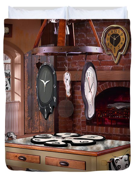 The Soft Clock Shop 3 Duvet Cover by Mike McGlothlen