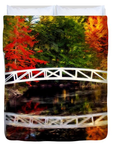 Duvet Cover featuring the photograph The Somesville Bridge by Bill Howard