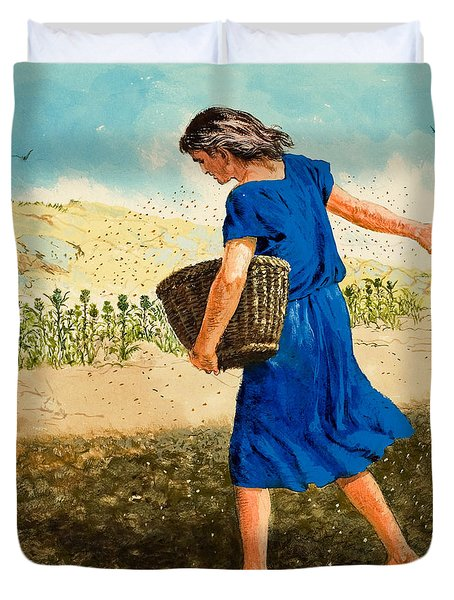The Sower Of The Seed Duvet Cover by Clive Uptton