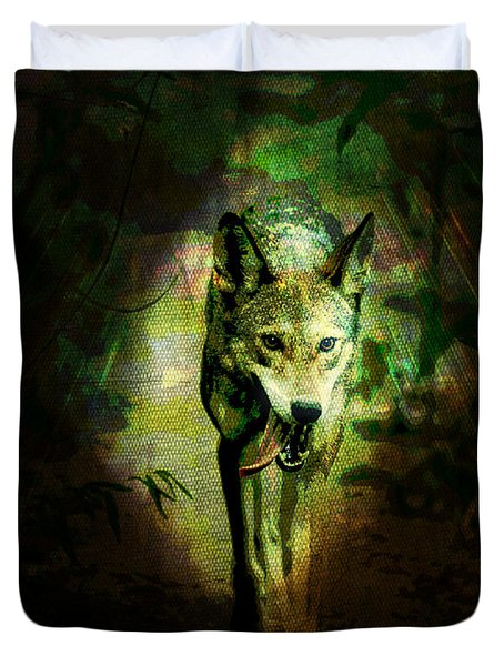 The Spirit Of The Wolf Duvet Cover by Absinthe Art By Michelle LeAnn Scott