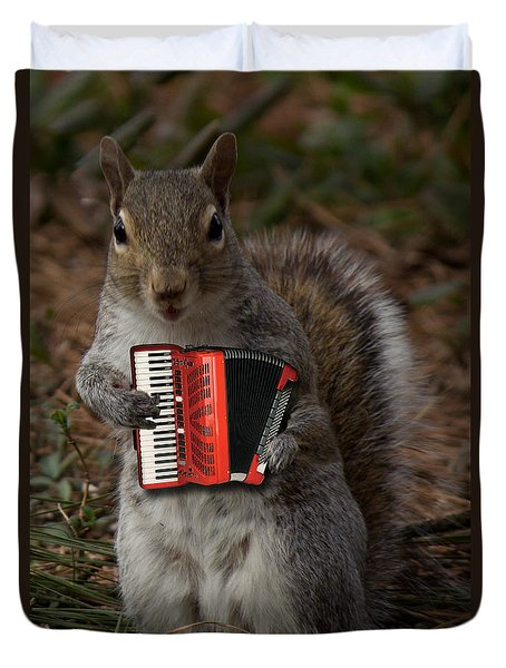 The Squirrel And His Accordion Duvet Cover