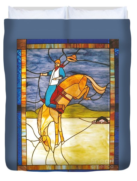 The Stained Glass Cowboy Riding Out The Bucks Duvet Cover by Patricia Keller