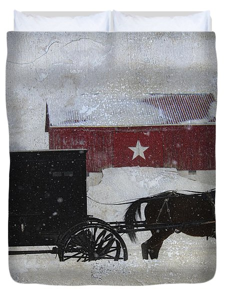 The Star Barn In Winter Duvet Cover