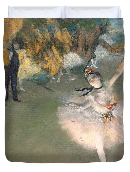 The Star Or Dancer On The Stage Duvet Cover by Edgar Degas