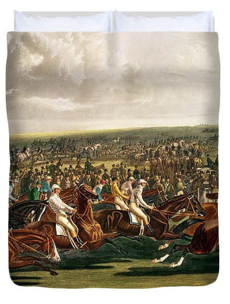 The Start Of The Memorable Derby Of 1844 Duvet Cover by Charles Hunt