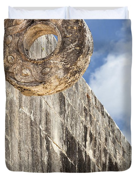The Stone Ring At The Great Mayan Ball Court Of Chichen Itza Duvet Cover
