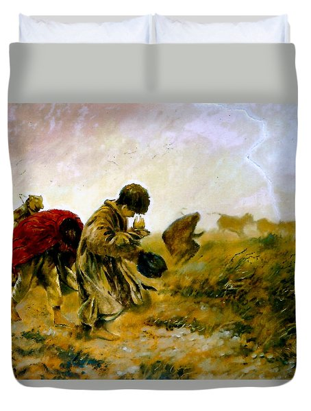 Duvet Cover featuring the painting The Storm by Henryk Gorecki