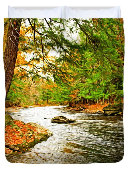 Duvet Cover featuring the photograph The Stream by Bill Howard