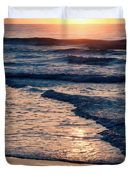 Sun Rising Over The Beach Duvet Cover by Vizual Studio