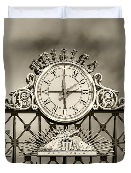The Sun Orioles Clock - Sepia Duvet Cover
