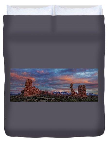 The Sun Sets At Balanced Rock Duvet Cover