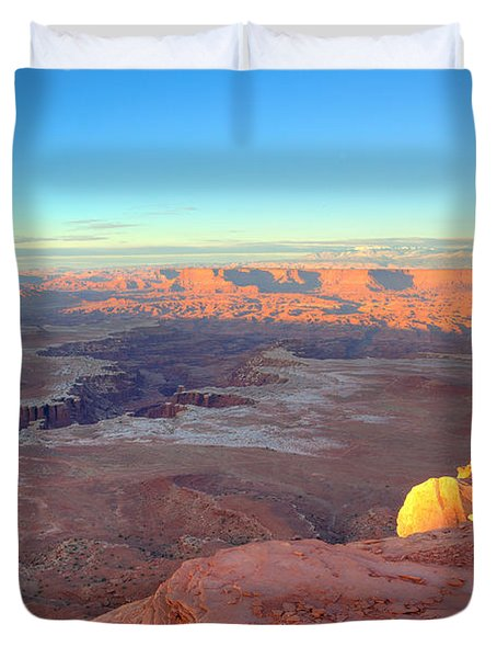 The Sun Sets On Canyonlands National Park In Utah Duvet Cover by Alan Vance Ley