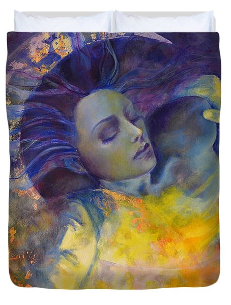 The Sun The Moon And The Truth Duvet Cover by Dorina  Costras