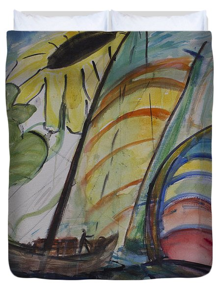 Duvet Cover featuring the painting The Sunflower Journey by Avonelle Kelsey