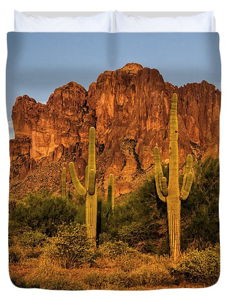 The Superstitions At Sunset  Duvet Cover by Saija  Lehtonen