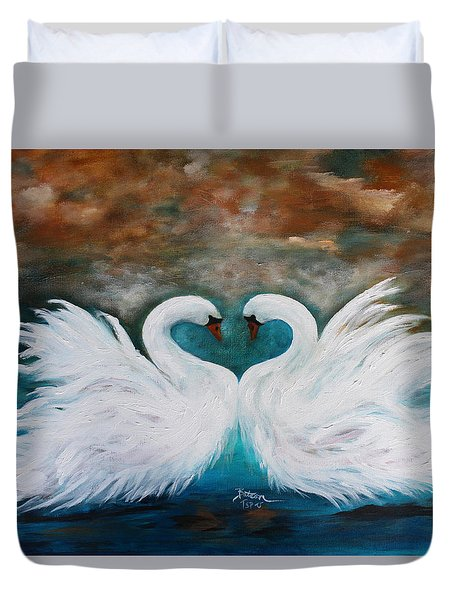 Duvet Cover featuring the painting The Swans Of Wolf Branch Manor by Barbie Batson