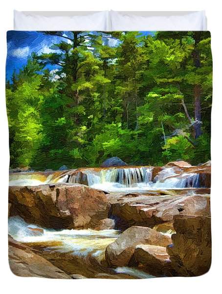 The Swift River Beside The Kancamagus Scenic Byway In New Hampshire Duvet Cover by John Haldane