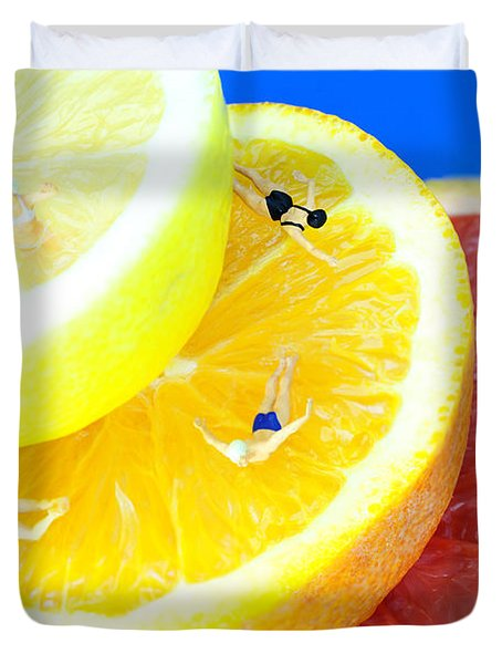 The Swimming Pool Little People On Food Duvet Cover
