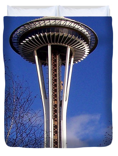 Duvet Cover featuring the photograph The Symbol Of Seattle by Kathy  White