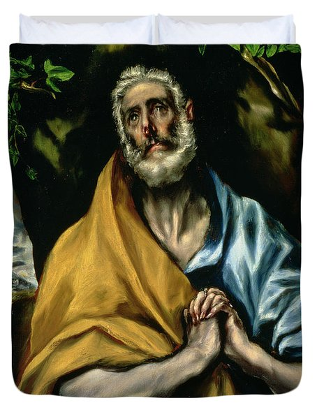 The Tears Of St Peter Duvet Cover by El Greco Domenico Theotocopuli