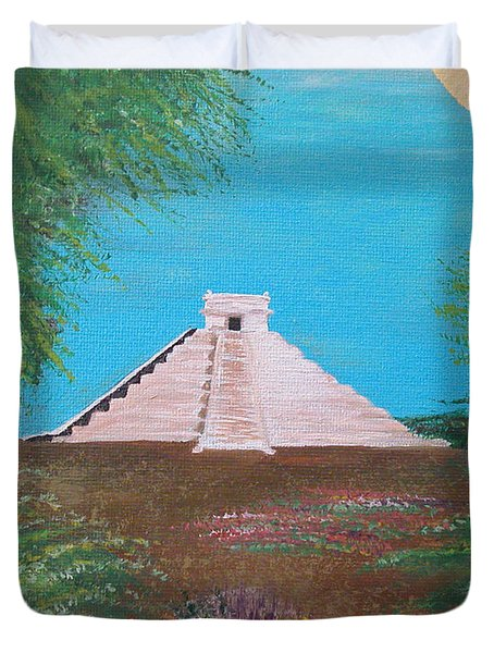 Duvet Cover featuring the painting The Temple Of Kukulcan by Alys Caviness-Gober
