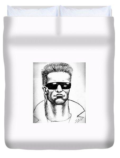 Duvet Cover featuring the painting Arnold Schwarzenegger by Salman Ravish