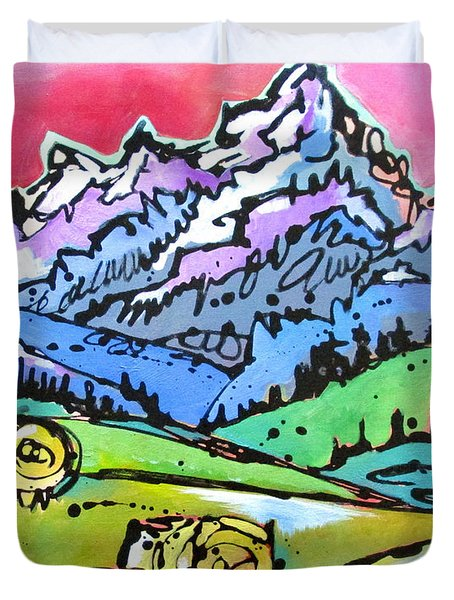 Duvet Cover featuring the painting The Tetons From Walton Ranch by Nicole Gaitan