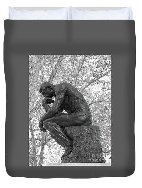 The Thinker - Philadelphia Bw Duvet Cover by Ann Horn