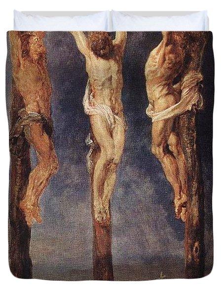 The Three Crosses Duvet Cover by Peter Paul Rubens