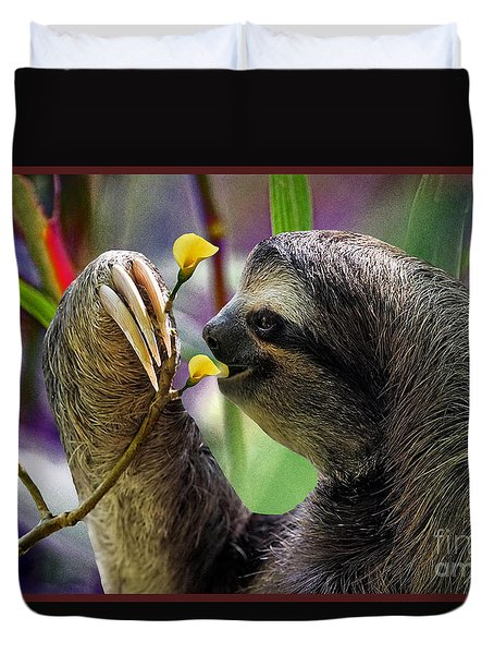 The Three-toed Sloth Duvet Cover by Gary Keesler