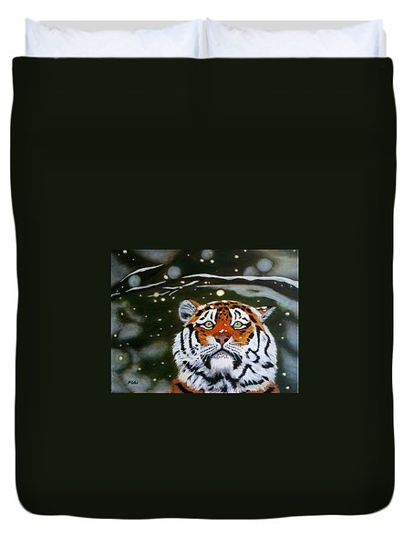 The Tiger In Winter Duvet Cover