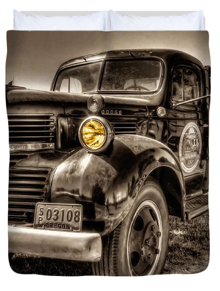 Duvet Cover featuring the photograph Tillamook Cheese Express by Thom Zehrfeld