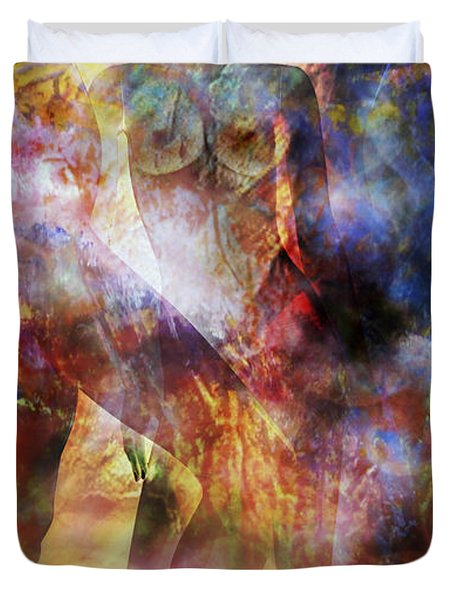 Duvet Cover featuring the mixed media The Touch by Ally  White