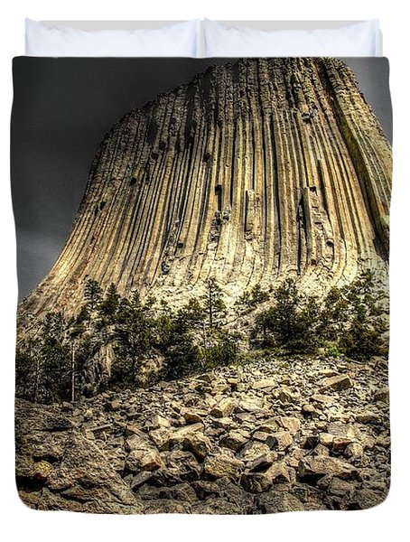 Duvet Cover featuring the photograph The Tower Of Boulders by Anthony Wilkening