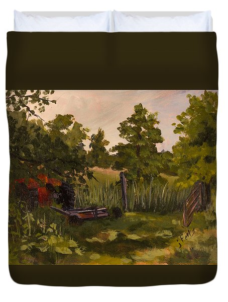 The Tractor By The Gate Duvet Cover by Janet Felts